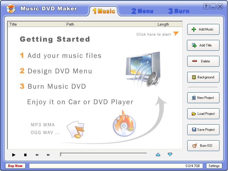 Make Music DVD with your favorite audio files